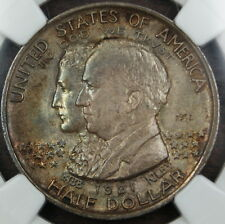 1921 2X2 Alabama Commemorative Silver Half Dollar, NGC MS-64, Toned *GEM* Coin