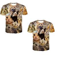 Chic Cool Boy Men 3D Print Summer Short Sleeve Kitty Cat T-Shirt Top Basic Tee