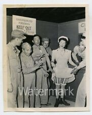 1940s vintage photo Military men soldier by lady lifting up dress  Upskirt