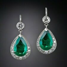 40Ct Pear Cut Emerald Syn Diamond Chandelier Dangle Earrings White Gold F Silver