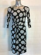 SIZE 10 PER UNA BLACK GREY STRETCH DRESS SPOTS DOTS PARTY SPRING WEDDING PARTY