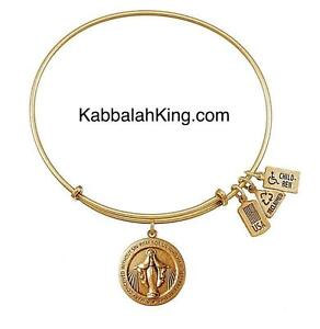 Wind & Fire Miraculous Medal Charm Gold Expandable Bangle Bracelet Made In USA