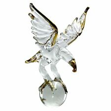 American Eagle Hanging Figurine Glass Blown Crystal With Glass Ball Gold Trim