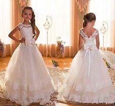 Weiß/Elfenbein Blumenmädchen Kleid Mädchen Kinder Spitze Prinzessin Festkleider