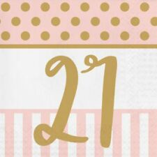 20 x Gold & Pink Chic 21st Napkins Ladies 21 Birthday Party Tableware Supplies