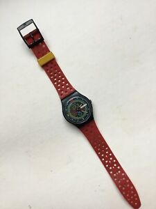 Vintage 1987 Swatch Natvigator Watch GB707 Tested Works Used