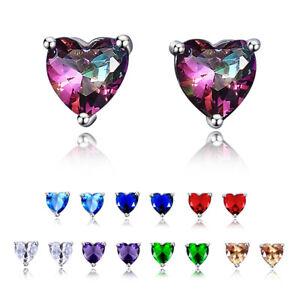 925 Silver Sweet Heart Sapphire&MYSTICAL Topaz&Emerald Multi Ear Studs Earrings!