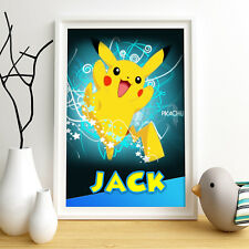 PIKACHU POKEMON Personalised Poster A4 Print Wall Art Any Name✔ Fast Delivery✔
