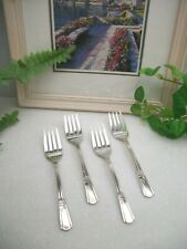 4 International Silver Court Silverplate Salad Forks 1939