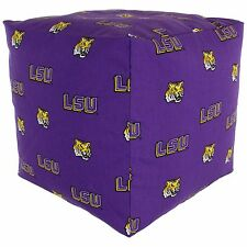 LSU Tigers NCAA Licensed Cube Cushion Pouf Chair Bean Bag Ottoman