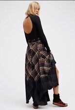 NEW FREE PEOPLE Sz 0 DIPPED IN DREAMS DIP DYED PLAID RAW HEM MAXI SKIRT BLACK
