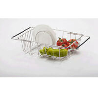Kitchen Stainless Steel Extended Dish Drying Rack Cutlery Drainer Dryer Tray ABS