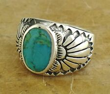 THICK MENS .925 STERLING SILVER TURQUOISE RING size 9  style# r1665
