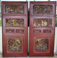 Pair of 19th Century Chinese Carved Gilded Lacquered Wood Imperial Court Panels