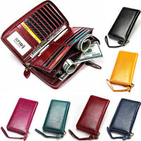 NEW Womens Genuine Leather Long Wallet RFID Blocking Zip Around Card Cash Wallet