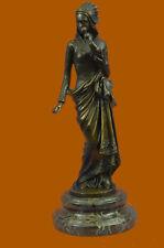 Handmade Carrier Exquisite Maiden Bronze Sculpture Marble Base Figurine
