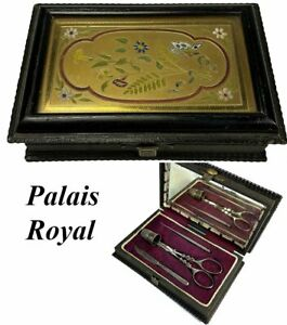 Antique French Palais Royal Sewing Box, Steel Implements, Glass on Enamel Plaque