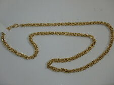 14K YELLOW GOLD 20 INCH DIMENSIONAL BYZANTINE CHAIN NECKLACE NEW 7.1 GRAMS