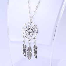 Woman Jewelry Feather Retro Pendant Long Sweater Chain Necklace-Dream Catcher