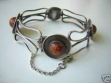 Armband mit Honig Natur Bernstein 835 Silber 23,4 g/18 cm Amber