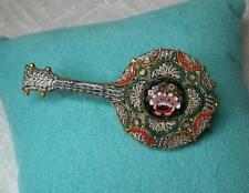 Banjo Guitar Mandolin Antique Micromosaic Brooch Victorian c1900 Italy