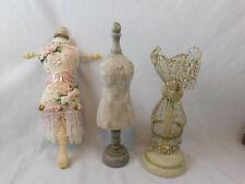 "3 Mannequins Decorative Accessory Dress Forms 15"" Wood Paper Mache & Metal Mesh"