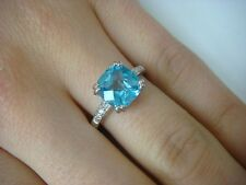 14K WHITE GOLD 2 CT CUSHION CHECKERBOARD CUT BLUE TOPAZ AND DIAMONDS RING,SIZE 7