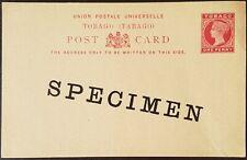 1892 Tobago Qv 1d red Postal Stationery Pc w/Specimen overprint