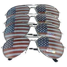 4 Pairs of Silver Us Aviator Usa American Flag Sunglasses United States stars
