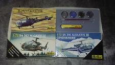 3 Maquettes COLLECTION Heller SA316/319 Alouette III - SA342M Gazelle 1:72
