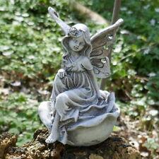 Elfe auf Rose sitzend Fee Blumenmädchen Fabelwesen Gartendeko Elfenkind