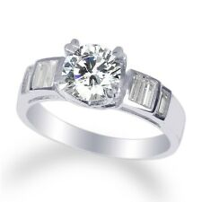 Womens 14K  White Gold Solid 1.1ct Round CZ w/ Clear Solitaire Ring Size 4-10