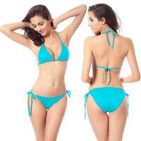 Sexy Fashion 2PCS Swimwear Set Swimsuit Bikini Push-up Halter Padded Top+Bottom