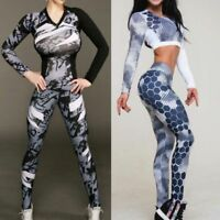 Women Lady Sports Gym Yoga Workout High Waist Pants Fitness Leggings Top Shirt