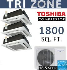 Tri Ductless Mini Split Air Conditioner Heat Pump: 12000 x 3 Ceiling Cassettes
