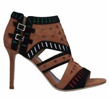 Tamara Mellon Black Tribal Suede Cutout Booties Heels $800 NWOB SIZE 41
