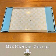 Rare MACKENZIE-CHILDS Parchment Check Large Enamel & Blue Leather Desk Blotter