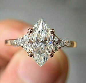 1.79ct Marquise cut Solitaire Diamond Engagement Ring Solid 14K White Gold