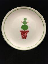 "Starbucks Coffee 2006 Christmas Holiday Snowman Topiary 6"" Dessert Plate Green"