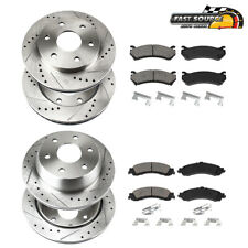 Front & Rear Drill Slot BRAKE ROTORS AND CERAMIC Pads For Escalade Sierra Yukon
