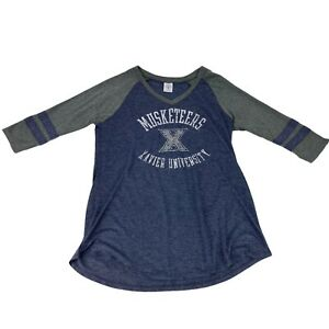 Xavier University Musketeers Womens Sz LARGE 12/14 V-Neck 3/4 Sleeve T-Shirt Top