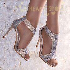 Ladies Diamante High Heel Sandals Shoes T-bar Evening Party  UK size 3-8  20357
