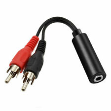 3.5mm Audio Jack Female To 2 x Phono RCA Male Stereo Lead Cable Connector UK NEW
