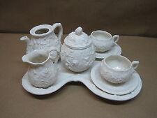 Antique Tea Set Bennington Parian Tea Set With Tray 1850 - 1858 Cups&Saucers