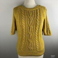 NWOT Ann Taylor LOFT Women's Sweater Size M Gold Short Dolman Sleeve