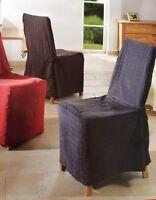 Stuhlbezug Karo (taupe) Abdeckung Stuhlüberzug Braun