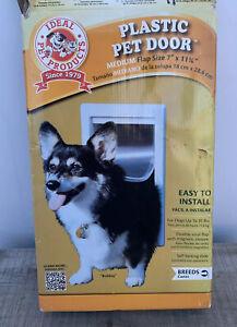 "New Ideal Pet Products Medium White Plastic Pet Door 7"" X 11 1/4"" Flap Size"