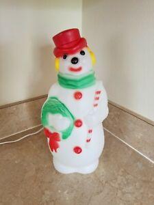 "Vintage Empire Plastic Blow Mold Snowman 13"" Tall 1968"