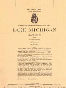 Vintage Nautical Chart # 73 Lake Michigan 1944 Unmarked New