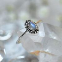 Sterling Silver Natural Moonstone Gemstone Dainty Band Stacking Beaded Ring